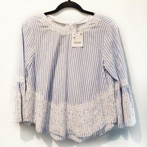 NWT ZARA | Stripe & lace blouse